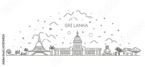 Fotografie, Obraz Sri Lanka line skyline with panorama in white background