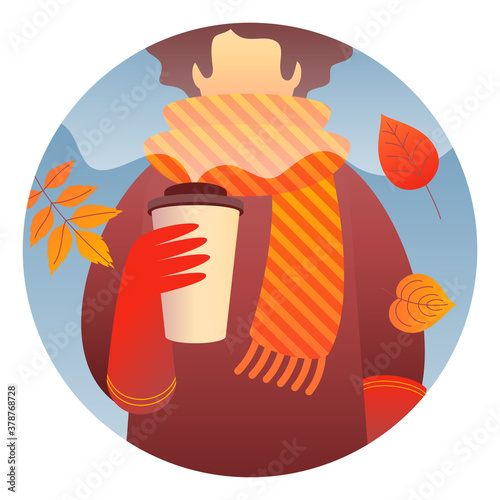 Fotografía A woman character holding hot coffee to go, wearing red gloves, a brown coat, and a striped yellow-orange scarf walks outdoor with autumn leaves around her
