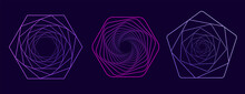 Set Of Twisted Colored Spirals. Wireframe Warp Shape. Vector Technology Tunnels.