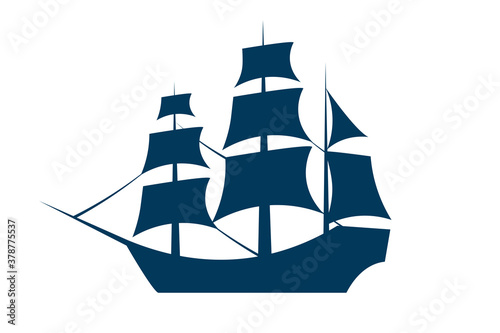 Photo Sailing ship silhouette. Vector EPS10 illustration.