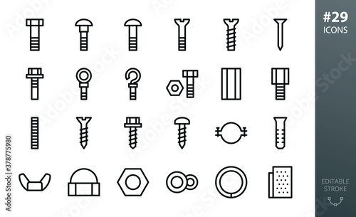Obraz Metal Construction Hardware icon set. Set of bolts, nuts, screws, lock washer, pvc dowel, pipe clamp, roofing screw, steel ring anchor bolt, furniture euro screw, metal nail isolated vector icons - fototapety do salonu
