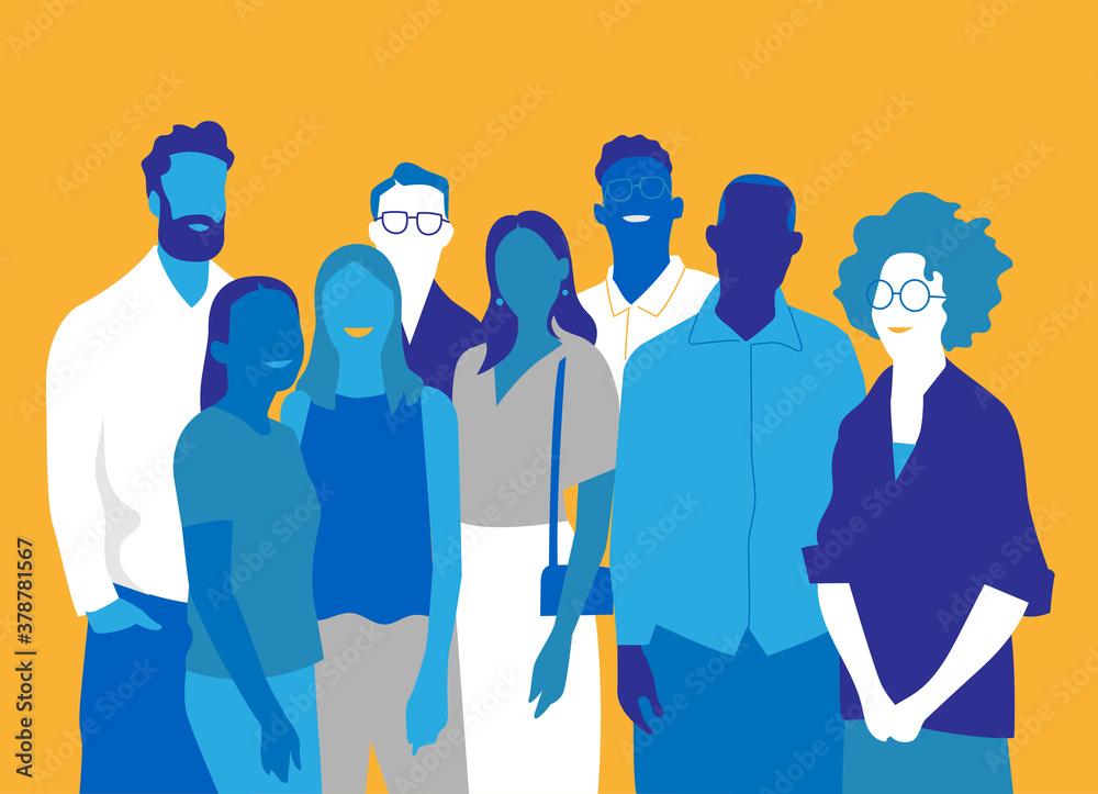 Fototapeta Gruppo di persone, amici, uomini e donne felici