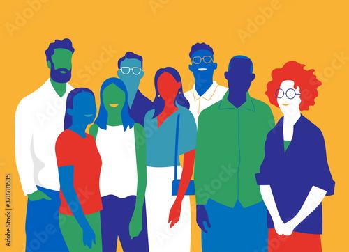 Fototapeta Gruppo di persone, amici, uomini e donne obraz na płótnie