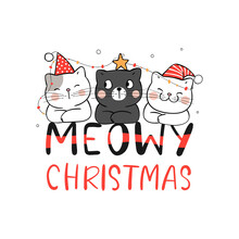 Draw Cat Meowy Christmas. For New Year And Merry Christmas.