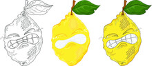 Cartoon Lemon Character Get Zest. Vector Illustration Template Set In Color And Black And White For Games, Pattern, Decor. Print For Fabrics And Other Surfaces. Coloring Paper, Page, Story Book