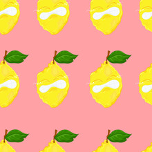 Cartoon Lemon Character Get Zest Seamless Pattern. Vector Illustration Template On Pastel Peachy Pink Background For Games, Background, Pattern, Decor. Print For Fabrics And Other Surfaces