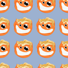 Crazy Peeled Cartoon Orange Seamless Pattern. Vector Illustration Template On Pastel Grey Background For Games, Background, Pattern, Decor. Print For Fabrics And Other Surfaces