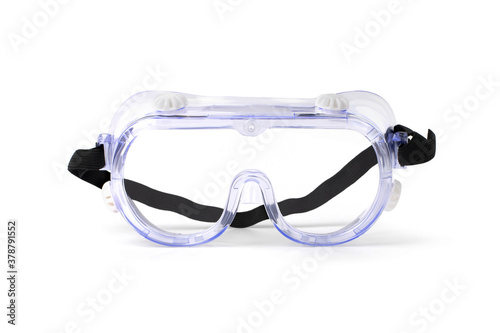 Clear safety glasses isolated on white Fototapeta
