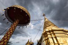 Beautiful Golden Pagoda Main Architecture Of Wat Prathat Doi Khum Temple, Chiang Mai, Thailand