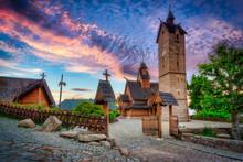 Beautiful Vang Stave Church In Karpacz At Sunset, Poland