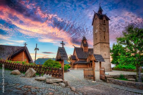 Fototapeta Beautiful Vang Stave Church in karpacz at sunset, Poland obraz