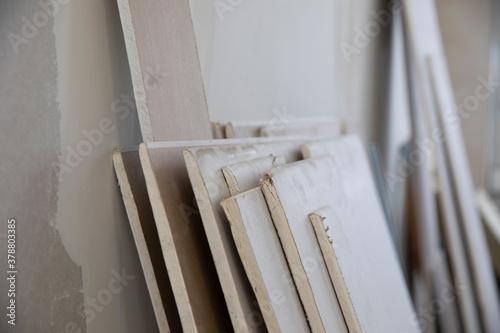 Canvas Print Reste von Rigipsplatten