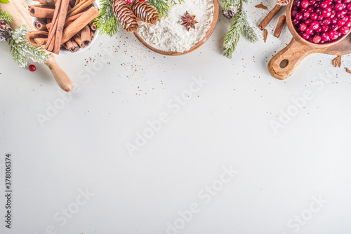 Fototapeta Ingredients for Christmas cooking, winter baking cookies, gingerbread, fruitcake, seasonal drinks. Cranberries, dried oranges, cinnamon, spices, flour on white table, copy space top view obraz