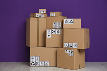 Cardboard Boxes With Different...