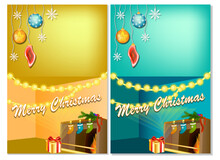 Vertical New Year Banners With Christmas Cartoon Home Interior With Hot Fireplace.