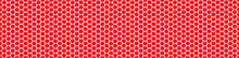 Seamless Vector Banner Of Red Random Honeycomb Mosaic. Geometric Design. Red Hexagon Tiles Background. Print For Wrapping, Web Backgrounds, Fabric, Decor, Surface, Packaging, Scrapbooking, Etc.