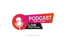Live Podcast Logo. Vector Illu...