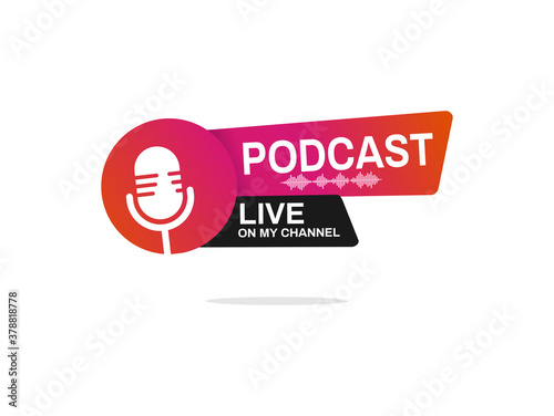 Live podcast logo. Vector illustration icon design template