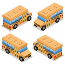 School Bus. Isometric. Isolate...