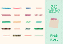 20 Japanese Washi Tapes. Vecto...