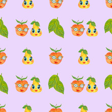 Seamless Pattern Pair Of Funny Cartoon Pear And Peach Fruits On A Lilac Background With Foliage. Watercolor Illustration Vector Illustration For Packaging, Wallpaper, Fabric, Textile, Accessories.