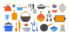 Cartoon Utensil. Hand Drawn Cookery And Kitchen Equipment, Doodle Kitchenware And Cutlery. Vector Set Flat Design Image Cooking Devices, Plates Pans Knives And Cups