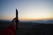 Holding Bushcraft Knife Marttiini