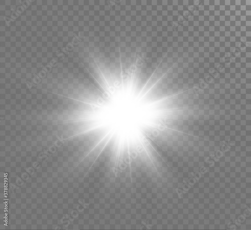 Fototapety, obrazy: White glowing light explodes on a transparent background. Sparkling magical dust particles. Bright Star. Transparent shining sun, bright flash