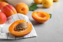 Fresh Ripe Apricots On Light G...