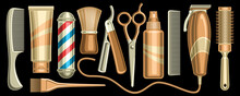 Vector Set For Hair Salon And Barbershop, 11 Isolated Illustrations Of Womans And Mans Hair Care Tools Silver And Golden Color On Black Background.