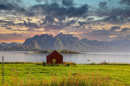 Sunset om Hadselfjord Nordland county Canvas Print