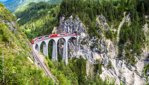 Photo Landscape with Landwasser Viaduct in summer, Filisur, Switzerland