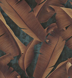 Concrete wallpaper with autumn tree leaves - 378851346