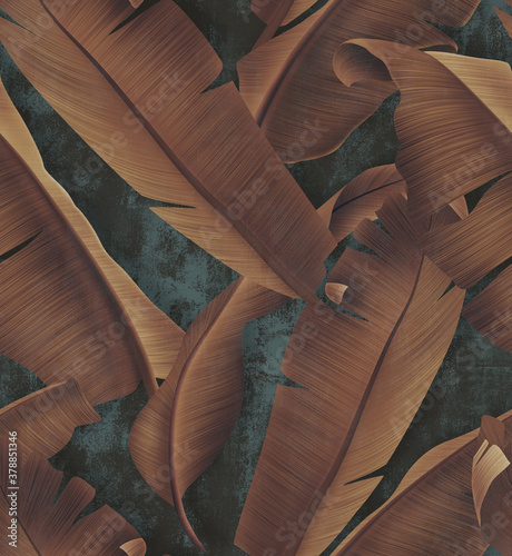 Concrete wallpaper with autumn tree leaves