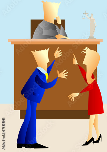 Canvas Men and a woman arguing in front of the judge