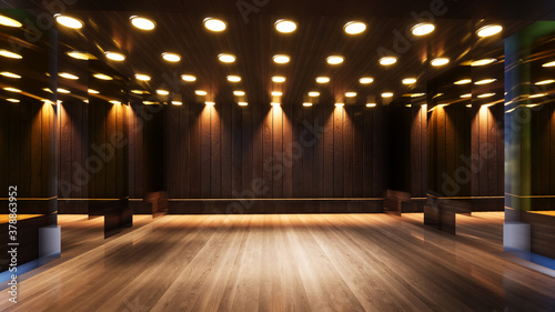 Fotografia three-dimensional color background for wooden TV studio 3d rendering