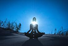 Yoga Position Silhouette In Contrasting Sun, Throat Chakra