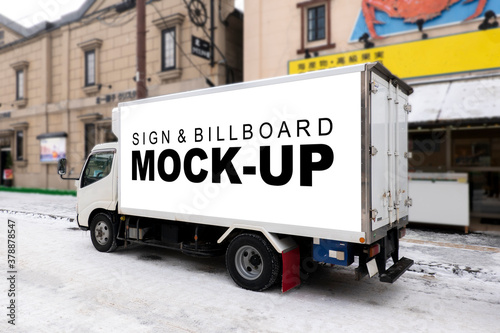 Fototapeta Mock up horizontal mobile billboard on beside of truck obraz