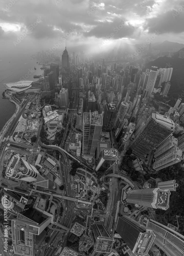 Fototapeta Top view of Hong Kong City in Black and White tone