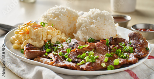 hawaiian bbq plate with barbecue chicken and rice Fototapeta