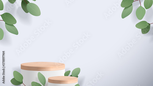 Obraz Abstract minimal scene with geometric forms. wood podium in white background with leaves. product presentation, mock up, show cosmetic product display, Podium, stage pedestal or platform. 3d vector - fototapety do salonu