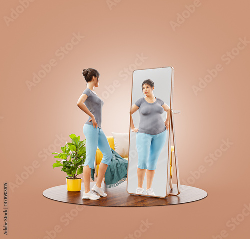 Young cute sporty girl looking in the mirror and imagining herself as fat. #378903915