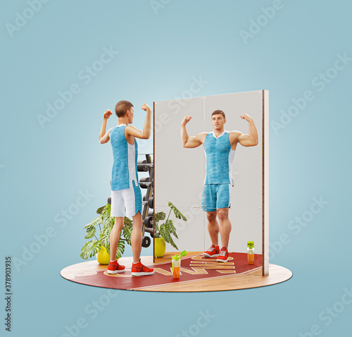 Young skinny man looking in the mirror and imagining herself as muscular bodybuilder. #378903935