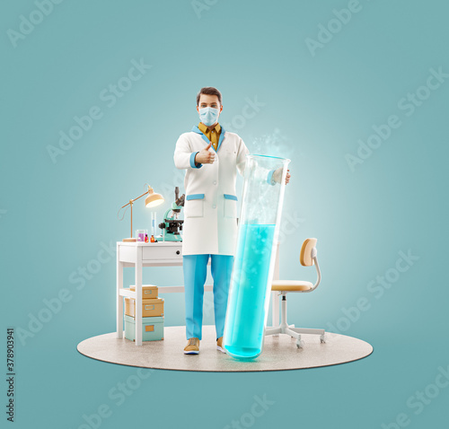 Young scientist with vaccine showing thumb up while standing in laboratory. #378903941