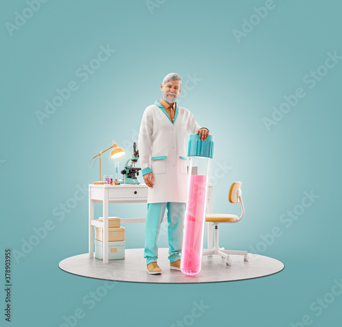 Scientist with vaccine standing in laboratory. #378903955