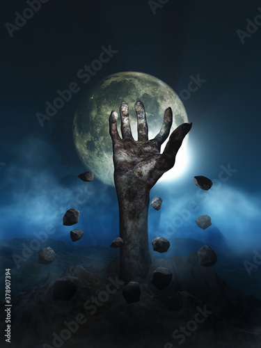 3D Halloween background with zombie hand erupting out of the ground Canvas Print