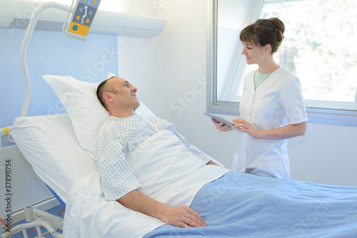 nurse visiting the recovering patient Canvas