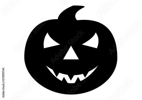 Icono de calabaza de Halloween en negro sobre fondo blanco Canvas Print