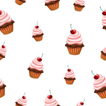 Seamless Pattern With Various Cupcakes On A White Background. Sweet Pastries Are Decorated With Cherries.