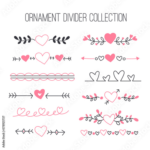 Fotografía Vector set of floral calligraphic elements, dividers and love ornaments for page decoration and frame design